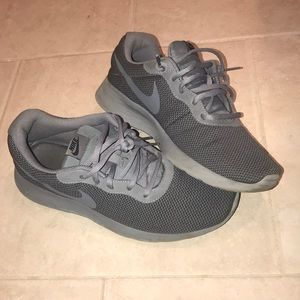 Gray Nike running shoes